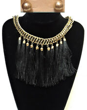 Gold Woven Black Braided Chain Tassel Charm Necklace Statement Earrings Set