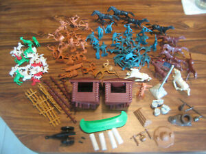 HUGE Marx and Unmarked Plastic Playset Accessories Lot Fort Farm Cowboys Indians