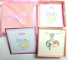 """""""I Love you to the Moon and Back"""" Necklace Name on gift card and inside lid"""