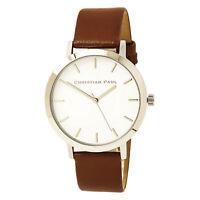 Christian Paul Men's Watch Raw Quartz White Dial Brown Leather Strap RW-02