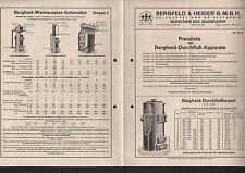 BURSCHEID, Prospekt 1934, Bergfeld & Heider GmbH Heizkessel-Boiler-Fabrik