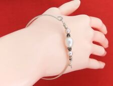 925 Sterling Silver Front Clasp Creamy White Freshwater Pearl Oval Bangle