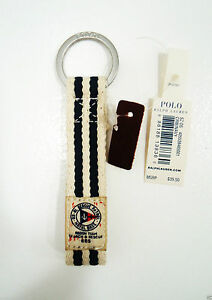 Polo Ralph Lauren Cream/Navy Nautical Loop Keychain Key Fob NWT