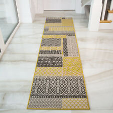 Milanmustard Yellow Grey Beige Patchwork Squares Traditional Living Room Rug 60c