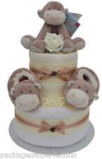 Cute 2 Tier Monkey Nappy Cake Baby Boy Girl Unisex Baby Shower New Baby Gift