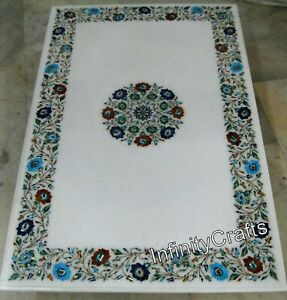 36 x 60 Inch Marble Dining Table Top Inlay Multicolor Stone at Border Sofa Table
