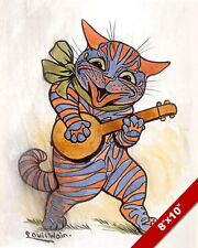 ORANGE & BLUE CAT PLAYING MUSIC GUITAR LOUIS WAIN PAINTING ART REAL CANVAS PRINT