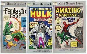 Marvel Milestone Edition - 7 issues - Reprints AF 15, FF 1, Hulk 1  avg. NM- 9.2