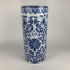 "Umbrella Stand Porcelain Blue White Floral 18"""