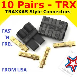 10 Pairs TRX TRAXXAS CONNECTOR PLUG LIPO NIMH E-REVO SLASH RALLY SUMMIT RUSTLER