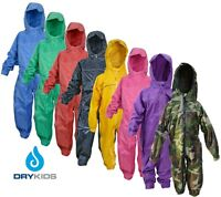 Dry Kids Childrens Waterproof All In One Rainsuit Girls Boys Unisex Schools