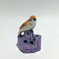 Miniature Porcelain Luster Flower Frog: Bird