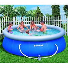 "Inflatable Swimming Pool 12'x36"" w/Filter Family Fun Backyard Round Above Ground"