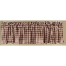 Country Barn Red Salem Lined Valance 72x15.5 in  Plaid Cotton Farmhouse Window