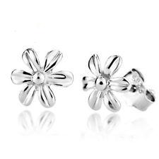 Women Silver Plated Little Daisy Flower No Stone Girl Elegant Ear Stud Earrings