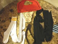 HALLOWEEN ACCESSORIES LOT BLACK BELT WHITE TUBE SOCKS NERD WHITE BLACK NEW NWOT