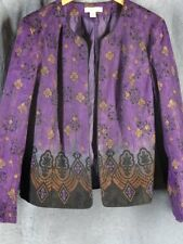 Coldwater Creek 16 Purple Print Open Front Jacket Top Lined