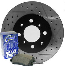 90-93 Integra GS LS GSR RS Drilled Slotted Brake Rotors Ceramic Pads Front
