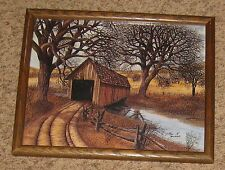 """Brown Natural Tone Wood 12 X 15"""" Frame with Garage Print Picture"""