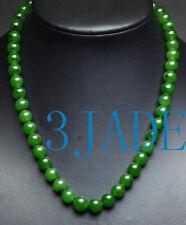 "17 1/2"" A Grade Natural Green Nephrite Jade Beads Necklace w/ Certificate"