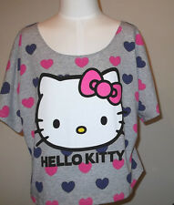 New HELLO KITTY  Womens Junior  TOP SHIRT T-shirt Tee  Hearts  Bow Grey M