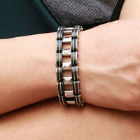 Men's Bracelet Silver Stainless Steel Black Rubber Motorcycle Biker Chain Link