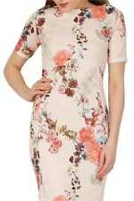 Feverfish Peach Bodycon Japanese Print Dress Size UK 18 Dh088 QQ 13