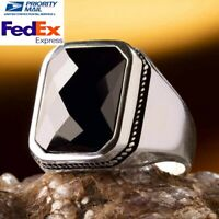 Turkish 925 Sterling Silver Faceted Cut Black Onyx Stone High Quality Mens Ring