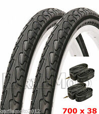 "N°2 Copertone 28"" - 700 x 38 (40 - 622) NERO Bici + N°2 Camera d'aria City Bike"