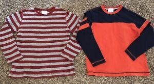 Lot 2 Boys Hanna Andersson Orange Blue Long Sleeve Shirt Clothes Size 130 8 VEUC