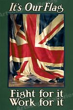 """British Union Jack Poster - """"It's Our Flag!"""" 1915 WWI Poster - 24x36"""