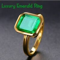 Vintage Natural Emerald Ring 18K Yellow Gold LUXURY Women's Wedding Size Jewelry