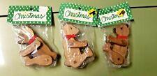 Lot Of 3 Wang'S International Wooden Bear Ornaments-Holiday Collectibles (Nos)