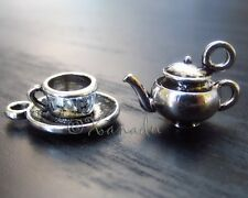 3Sets Teapot And Teacup Charm Pendants - Wholesale Silver Plated Charms - C5561