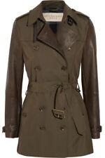 Burberry Leather Sleeve Mid-Length Trench Coat, Deep Khaki, Size 4