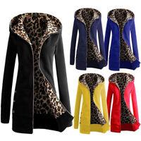 Women's Zip Hooded Coat Winter Warm Leopard Hoodie Parka Trench Jacket Outerwear