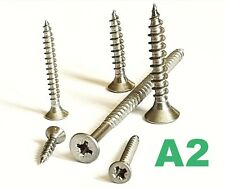 4g 6g 8g STAINLESS STEEL POZI COUNTERSUNK FULLY THREADED CHIPBOARD WOOD SCREWS