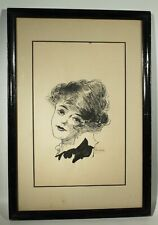 ANTIQUE 1916 ARTIST SIGNED PEN & INK DRAWING GLAMOUR GIRL ILLUSTRATION FINE ART