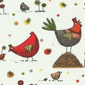 Textiles français Cluck, Cluck… Hens & Chicks fabric - 100% Cotton (Countryside)