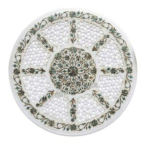 White Marble Coffee Table Top with Intricate Work Corner table for Home 18 Inch