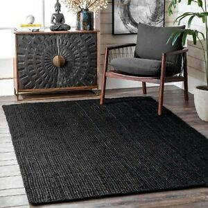 Rug 100% Jute Rectangle Natural Handmade Braided Floor Mat Reversible Runner Rug