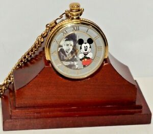 THE DISNEY CO. LIMITED EDITION 285/1000 FROM WALT TO MICKEY FOSSIL POCKET WATCH
