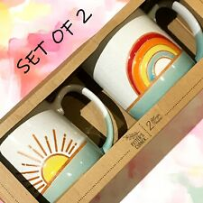 SET OF 2 New POTTER'S CORNER Ceramic 14 OZ Mugs Sunshine & Rainbow Handcrafted