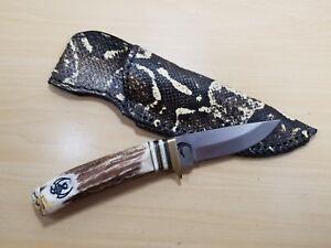 Hunting Skinner EDC Knife with Genuine Stag Horn Antler Handle Boa Snake Sheath