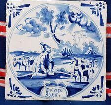 Antique 18thC.Dutch Delft Blue White Bible Biblical Religious Tile Exodus 3:6
