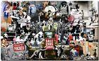 "BANKSY STREET ART CANVAS PRINT Collage montage 18""X 12"" stencil poster #1"
