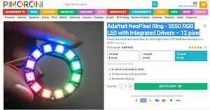 ADAFRUIT NeoPixel Ring - 12 x SK6812 5050 RGB LED with Integrated Drivers NEW