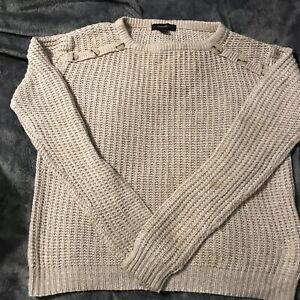 Womens Size 10 Round neck Knitted Jumper Beige With Buttons By Atmosphere