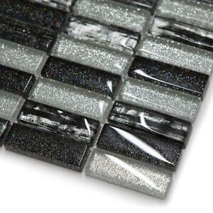 Silver & Black Glass Glitter Mosaic Tile Sheet For Walls Floors Bathroom Kitchen