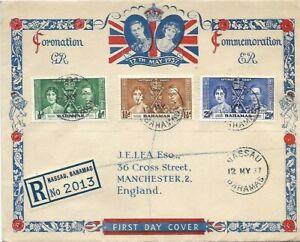 BAHAMAS 1937 CORONATION OF KGVI ON REGISTERED LEA ILLUSTRATED FDC - NASSAU CDS